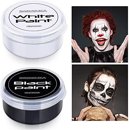 BOBISUKA Blank in the Dark Black + White Oil Face Body Paint Set, Large Capacity Professional Paint Palette Kit for Art Theater Halloween Party Cosplay Clown Sfx Makeup for Adults (140g/4.93 oz)