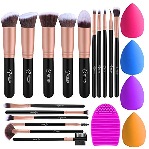Pinselset Make up Pinsel Set 16 Stück mit 4 Beauty Schwamm und Bürste Wash Ei BESTOPE Pinsel Set...