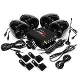 Aileap 1000W Moto Amplificatore 4 Altoparlanti Bluetooth Impermeabile Sistema Audio Stereo AUX MP3 USB SD FM Radio per Harley touring Cruiser ATV UTV Scooter (Nero)
