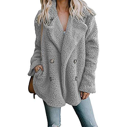 LONMEI Damen Mantel - Winter Warme Langarm Dicker Künstliche Wollmantel Revers Casual Plüsch Jacke Einfarbig Fleecejacke Übergroße, Hellgrau-EU L= Tag 2XL