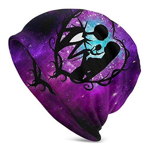 Venawy Jack & Sally Skellington Unisex Adult Beanie Hats Polyester Hat Winter Outdoor Fashion Slouchy Warm Caps