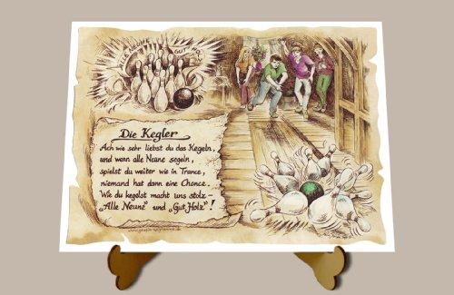 Geschenk Kegler Kegeln Kegelverein Präsent Zeichnung Color 20 x 15 cm mit Aufsteller