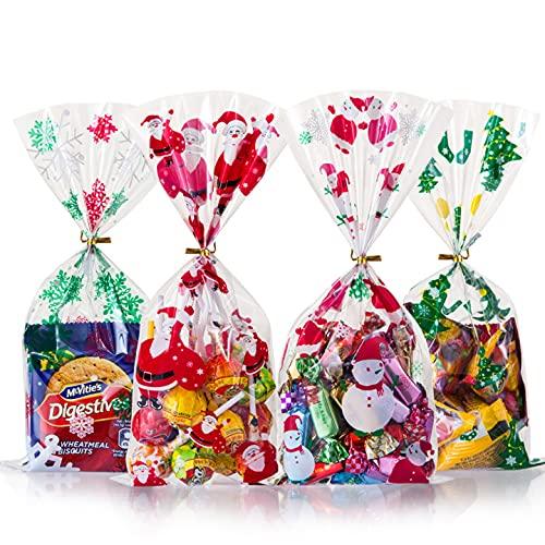 Gwhole 200 Pz Sacchetto di Caramelle di Natale, Sacchetti di Biscotto Sacchetto per Caramella Confetti Borsa di Regalo per Natale, Festa, Compleanno, Partito Nozze