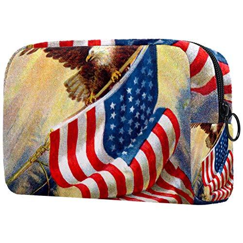 Bolsa de cosméticos Bolsa de Maquillaje para Mujer para Viajar Llevar cosméticos Cambiar Llaves, etc.,Ilustración Vintage de la Vieja Gloria de los pájaros y la Bandera Americana