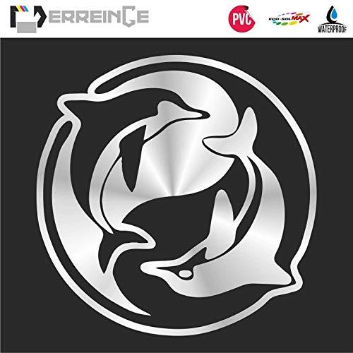 ERREINGE STICKER PRÉDÉCOUPÉ NOIR 12cm - Tao Yin Yang Dauphins - Autocollant Décalcomanie Muraux Voiture Moto Casque Campeur Portable Scooter