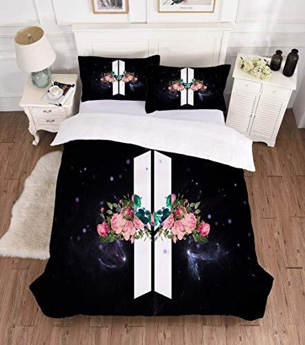 BTS Bettbezug Bettwäsche Set - Bettbezug Und 1 Kissenbezug 80 X 80 cm Mikrofaser,3D Digital Print Dreiteiliger Bettwäsche Einzel Doppel,3,220x240cm+80x80*2