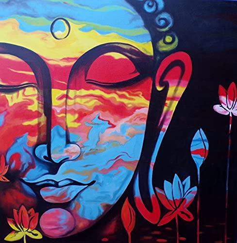 Marblechic - Cuadro pintado cara de Buda arcoíris 100 x 100 cm cabecero cama cara buda blanco negro