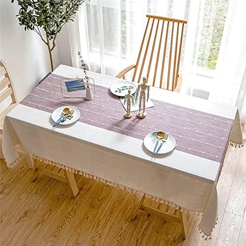 Mantel de Lino Decorativo sólido con diseños de Rayas a la Moda con borlas Mantel Rectangular para Mesa de Comedor de Boda Mantel de té Q140x200cm
