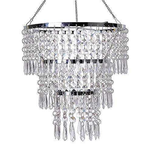 "FlavorThings 3 Tiers Fuax Crystal Acrylic Beaded Chandelier,Diam10.5"" Long 11"",LampShade with Acrylic Jewel Droplets,Great idea for Wedding Centerpieces Decorations and Any Event Party Home Decor"