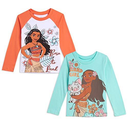 Disney Moana Baby Girls Raglan Long Sleeve Hawaiian 2 Pack T-Shirts 18 Months White/Blue
