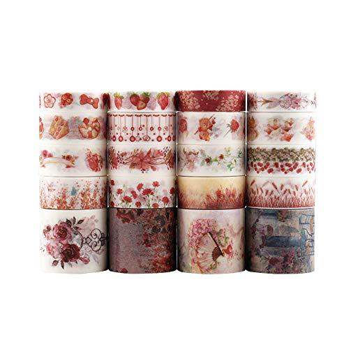 20 pcs Washi tape, Lychii tape decorativo coprente per lavoretti di fai da te, diari, biglietti, schizzi (Rosso)