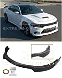 Extreme Online Store Replacement for 2015-Present Dodge Charger   SRT Style 3Pcs Front Bumper Lower Lip Splitter (ABS Plastic - Flat Black)