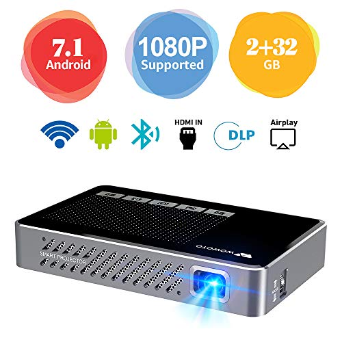 Mini Projector WOWOTO A5 Pro Android 7.1 100ANSI 2+32G Portable DLP Video Projector 150' Home Theater Projectors with BT4.0 Support WiFi Wireless Screen Share 1080P HDMI USB SD Card