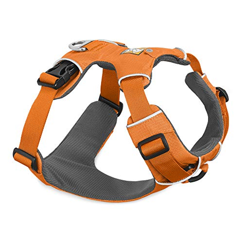 RUFFWEAR, Front Range Dog Harness, Reflective and Padded Harness for Training and Everyday, Orange Poppy, Medium