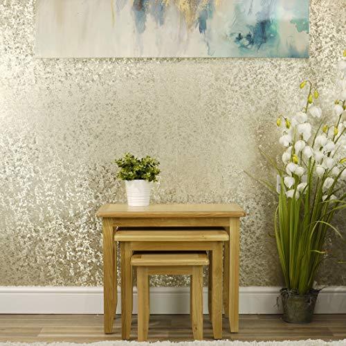 Oakland Modern Oak Nest of Tables | 3 Nesting Lounge Tables | Medium Wood Tone
