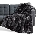 Bedsure Soft Fuzzy Faux Fur Sherpa Fleece Throw Blanket Black- Warm Thick Fluffy Plush Cozy Reversible Shaggy Blanket for Sofa and Bed -Comfy Furry Blanket, 60x80 inches