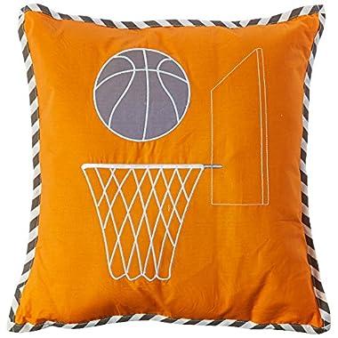 Bacati Muslin Dec Pillow, Basketball/Orange/Grey
