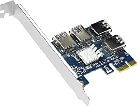 ODOUKEY -J2 PCIe 1 tot 4 PCI Express Riser Card Slots Riser Card USB Adapter Multiplier Card voor Bitcoin Miner Blauw