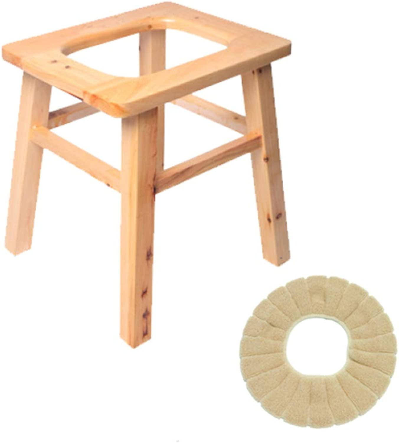 Old Toilet Chair Home Solid Wood Bathroom Stool Removable Elderly Toilet Adult Pregnant Commode Chair,WithoutBarrel-High25CM