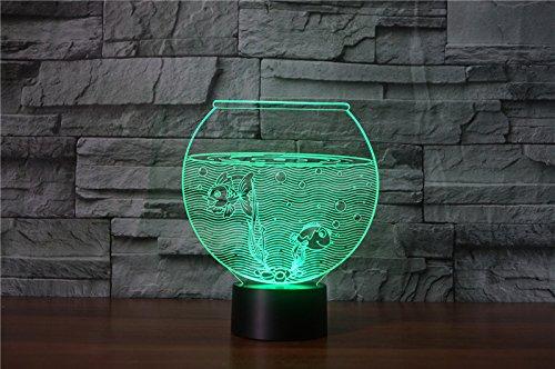Creative Acrylique 7 Couleur Changeante 3D Aquarium Bol De Poissons Fish Tank LED Veilleuse Chambre Lampe De Table Moderne Décor À La Maison