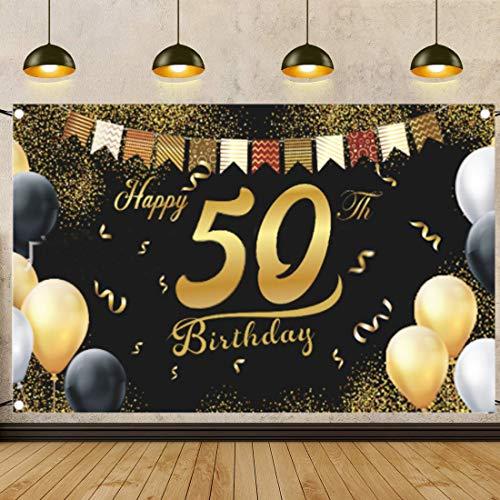 50.Geburtstag Party Dekoration,50 Mann Geburtstag,Hintergrund Banner Geburtstag,Stoff Schild,Schwarz Gold Geburtstag,Jahrestag Foto,50 Jahre Geburtstag Deko