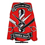 Vintage Retro Red Cissors Shears Razor Hairdresser Hair Stylist Haircut Cover Salon Barbering Cape Shop Accessories Styling Cutting Kit Professional Cloth Women Men Adult