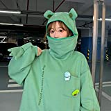 biondo beverly hills Womens Cute Frog Hoodie Winter Warm Thick Loose Oversized Sweatshirt Animal Shape Hooded Top Sweatshirt Teens Street Style