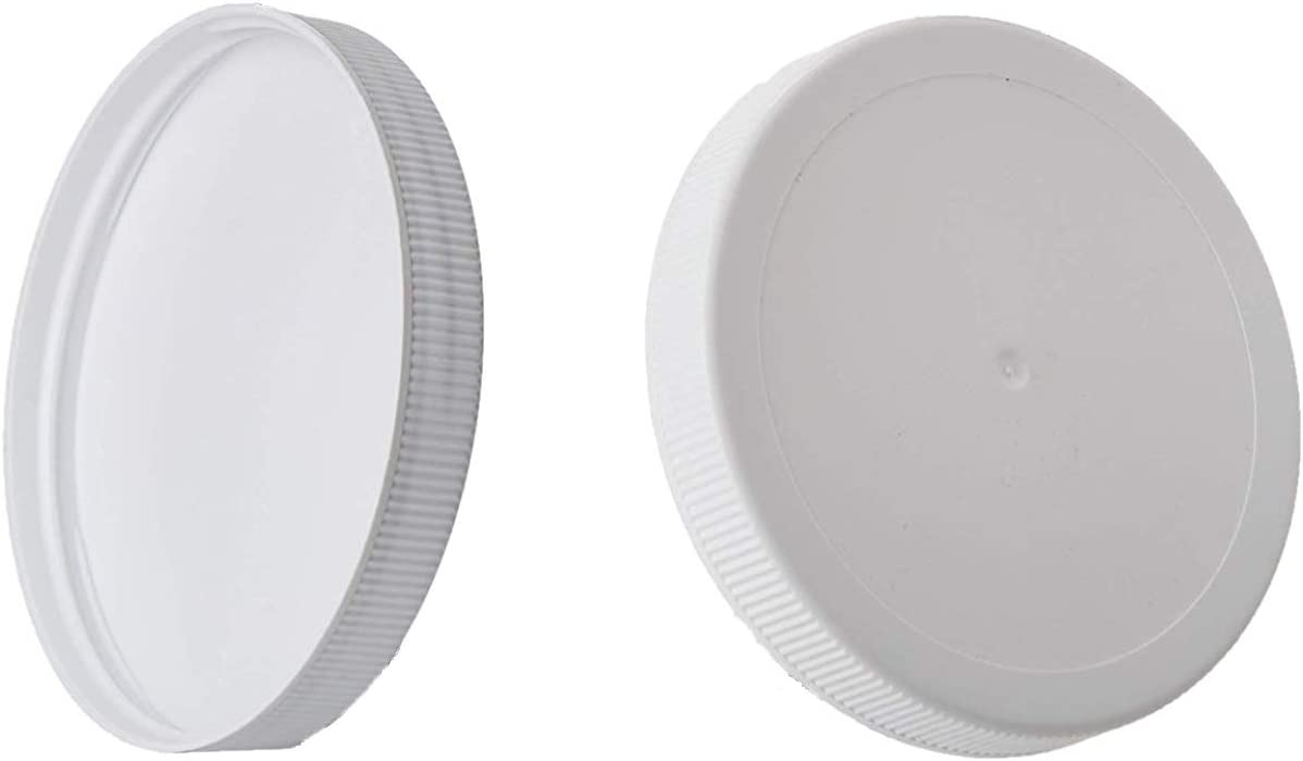 Kitchentoolz White Plastic Lids for 1 Gallon Wide Mouth Glass Jars - fits 110mm opening (110-400) - Caps Lined with PE Foam Food Grade (jars not included) (2)