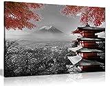 Panther Print, Lienzo decorativo para pared, cuadro enmarcado para sala de estar y dormitorio, templo japonés en otoño, negro, blanco y rojo, impresiones para ocasiones especiales (76 x 50 cm)