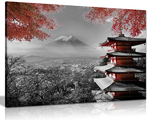 Lienzo decorativo para pared, diseño de templo japonés en otoño, color negro, blanco y rojo (24 x 16)