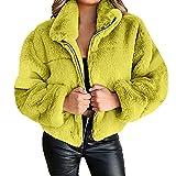 BAODANA Mantel Damen Kunstpelz Fleece Jacke Dickere Winter Warm Motorradjacke Revers Outwear Frauen Plus Samt Pulloverjacke Mode Langarmjacke Angenehm Übergangsjacke Wetterschutzjacke