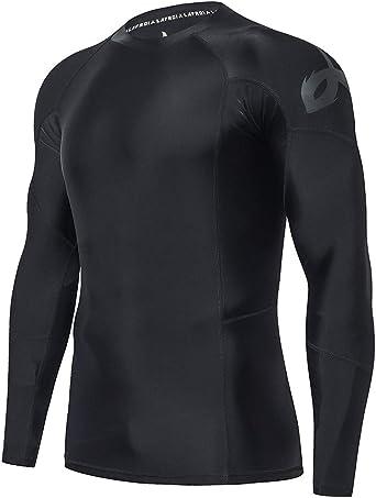 LAFROI Camiseta de compresión para Hombre, Manga Larga, UPF 50+, Ajuste de Rendimiento, protección contra sarpullidos, Hombre