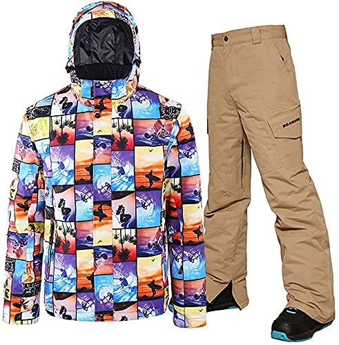 TIANYOU Hombres Chaqueta de Esquí Prendas de Esquí Esquí Pantalones + Resistente Al Viento Impermeable Respirable Cálido Invierno Traje de Esquiar Regalo de Los Hombres Softshell/图片 /