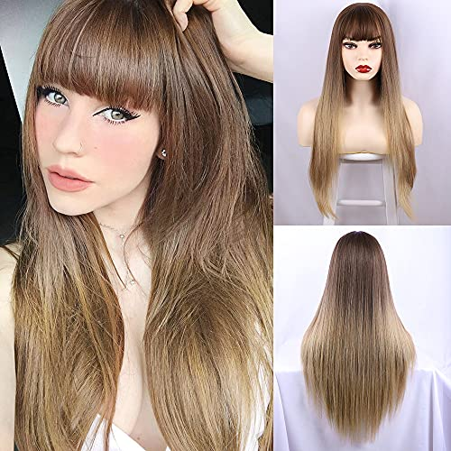 CAUGHTOO Long Straight Wig with Bangs Ombre Blonde Wig Synthetic Straight Wigs for Women Long Straight Wig Ombre Blonde wigs for Daily Party Use 28 InchOmbre Honey Blonde