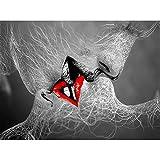 ZYHFBHFBH Astratto Bianco e Nero Amore Bacio Poster su Tela Pittura murale Immagine Stampa Galleria Soggiorno Camera da Letto Decorazione della casa