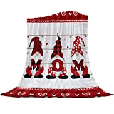 Mother' Day Throw Blankets Extra Soft Lightweight Flannel Fleece Blanket Red Gnomes Wood Texture Decorative Bedding Warm and Cozy All Season Use Cover for Bed/Couch Microfiber