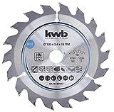 kwb 581857 - Hoja de sierra circular para madera y madera dura, 130 x 16 mm, cortes limpios, número medio, 18 dientes Z-18, hoja de sierra CleanCut media, 130 x 16 mm