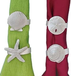 Seaside Napkin Ring Set Starfish, Shell, Spiral Shell, Sandollar 4PC Set NR17