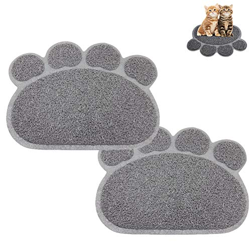 Premium Cat Litter Mat, Pet Feed Bowl Drink Water Cat Litter Mat Easy Clean Waterproof and Durable, PVC Pad Cute Claw Shape [2 Pack]