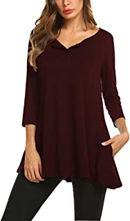 Qearal Womens Loose 3/4 Sleeve Swing Buttons Tunic Tops Henley T Shirts with Pockets