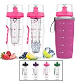 Bevgo Fruit Infuser Water Bottle – Large 32oz - Hydration Timeline Tracker – Detachable Ice Gel Ball With Flip Top Lid - Quit Sugar - Save Money - Multiple Colors with Recipe Gift Included