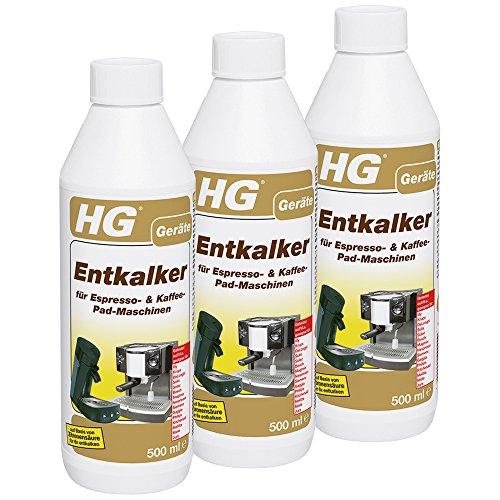 HG Entkalker für Espresso- und Kaffee-Pad-Maschinen, 3er pack (3x 500 ml) – ein Reinigungsmittel, um Kaffee-Pad-Maschinen wie Senso zu entkalken