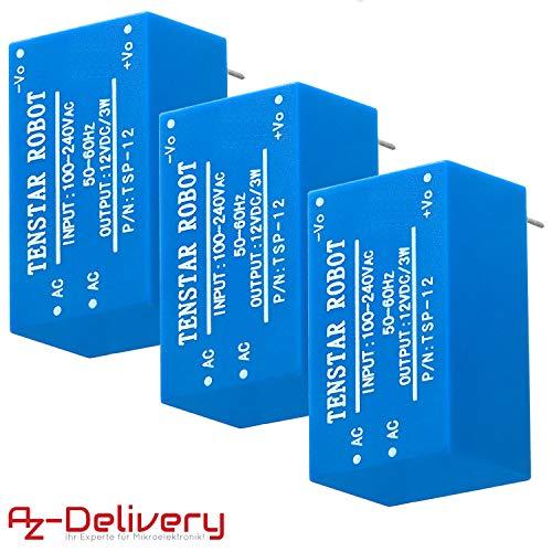 AZDelivery 3 x 220V a 12V Fuente de alimentación mini para Arduino y Raspberry Pi con eBook incluido
