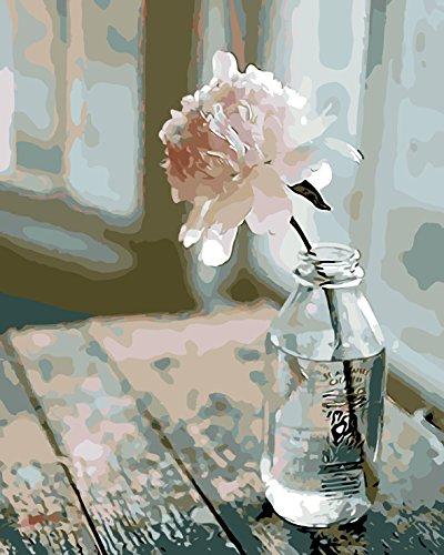 WISKALON Pintar por Numeros para Adultos Niños Bricolaje Pintura al óleo Kit por Numeros sobre Lienzo con 3X Lupa, Acrílica Pintar y Pinceles - Flor en la Botella 40cm x 50cm (sin Marco)