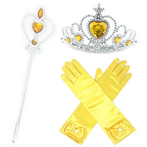 GenialES 3Pcs Prinzessin Verkleiden Dress Up Handschuhe Gelb Diadem Zauberstab für Geburtstag Halloween Karneval-Partei Cosplay Mädchen