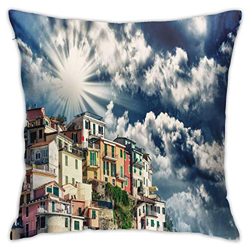 DHNKW Throw Pillow Case Cushion Cover,Skyscape Photo of Mediterranean Coast Colorful Ancient Houses and Amazing Sky ,18x18 Inches