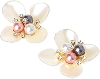 DIY Women's Shoe Clips Buckles,Sequins Beads Flower Decorative Buckles Accessory Clothing Patch Charms For Women,Peck Of 2