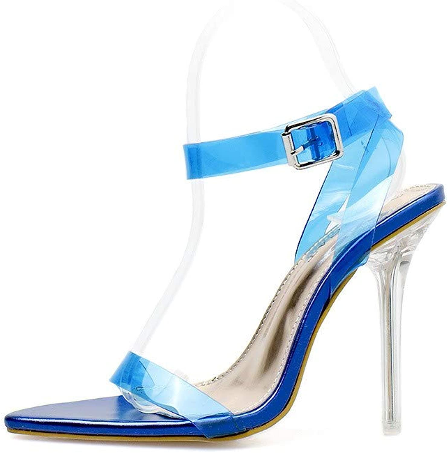 JQfashion Women's High-Heeled shoes Spring and Summer Sandals Tip Fine-Heeled Sexy Transparent PVC Coloured Crystal Heel