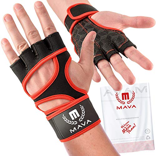 Mava Sports Workout Gloves with Integrated Wrist Wraps Support and Full Palm Silicone Padding. Perfect for Weight Lifting, Powerlifting, Pull Ups, WOD and Cross Training for Men and Women