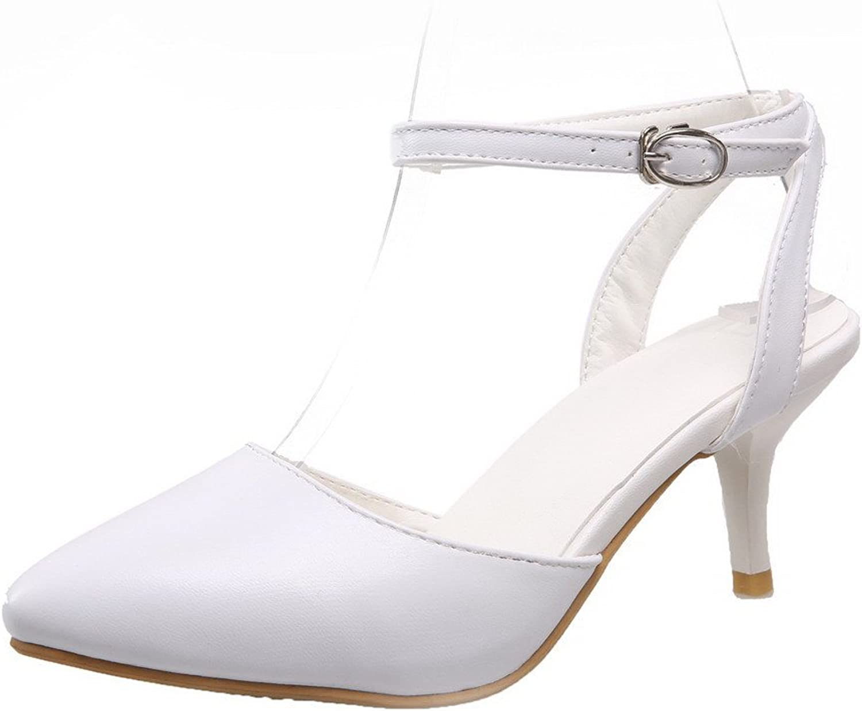 AllhqFashion Women's Buckle Closed Toe Kitten-Heels Sandals
